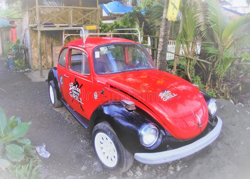 Beetle car. B used dor grilling inside the hood by Sabang Beach in Baler royalty free stock photo