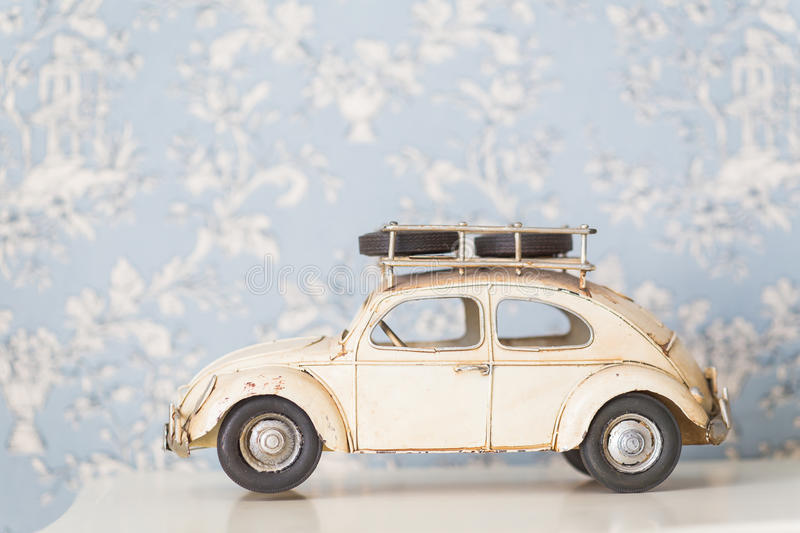 Beetle car. Vintage toy Volkswagen Beetle car royalty free stock image