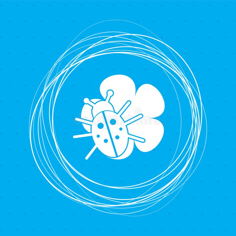 Beetle on a leaf icon blue background with abstract circles around and place for your text. royalty free illustration