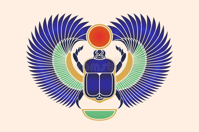 Beetle scarab with wings, sun and a crescent moon. Ancient Egyptian culture. God Khepri Sun morning dawn. The emblem, logo. Object vector illustration