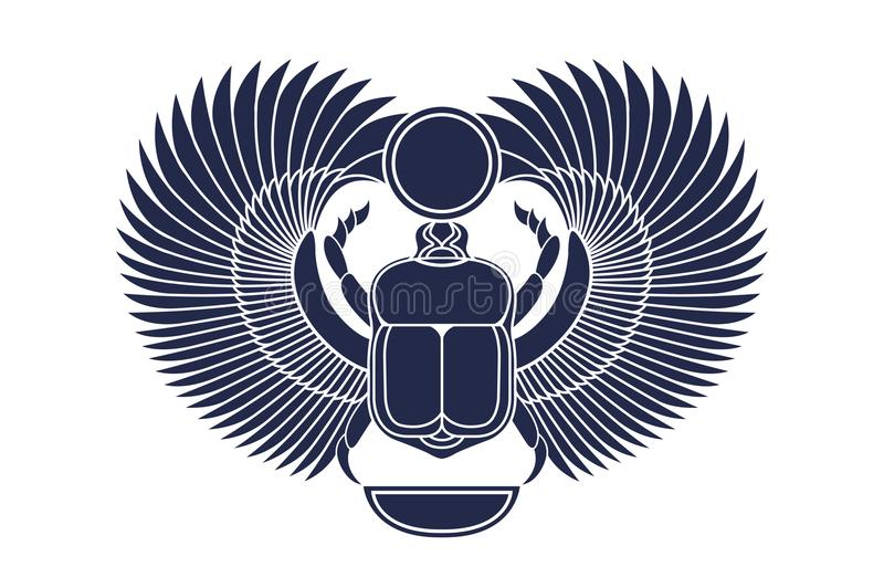 Beetle scarab with wings, sun and a crescent moon. Ancient Egyptian culture. God Khepri Sun morning dawn. The emblem, logo. Silhou. Ette. Object isolated on vector illustration