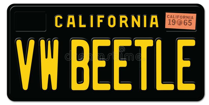 Beetle Volkswagen License Plate royalty free illustration