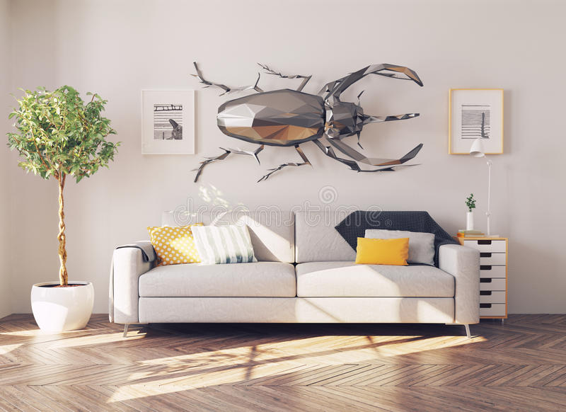 Beetle on the wall stock illustration