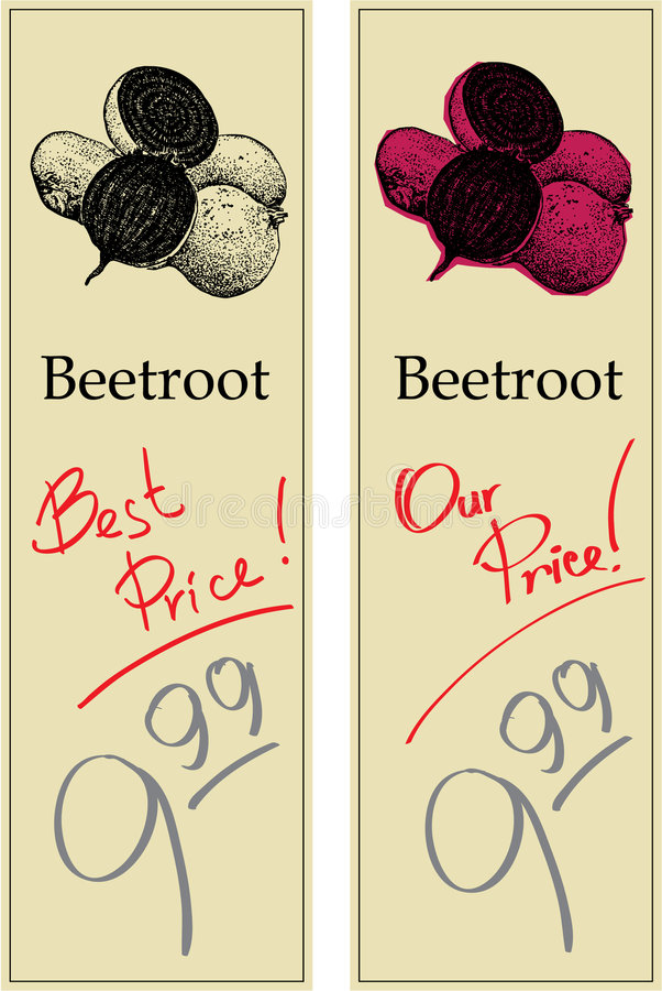 Beetroot. Two Price Tags with Vintage Effect vector illustration