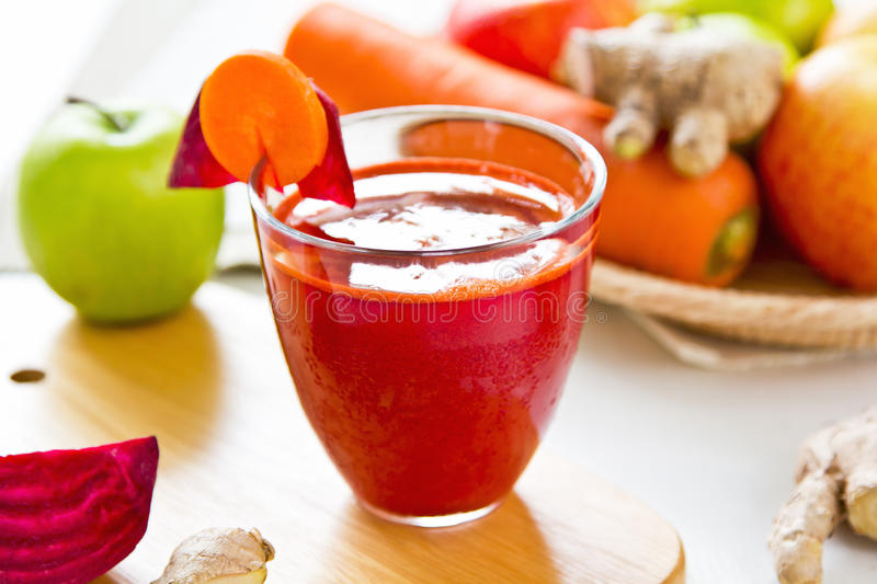 Beetroot with Carrot and apple juice stock photo