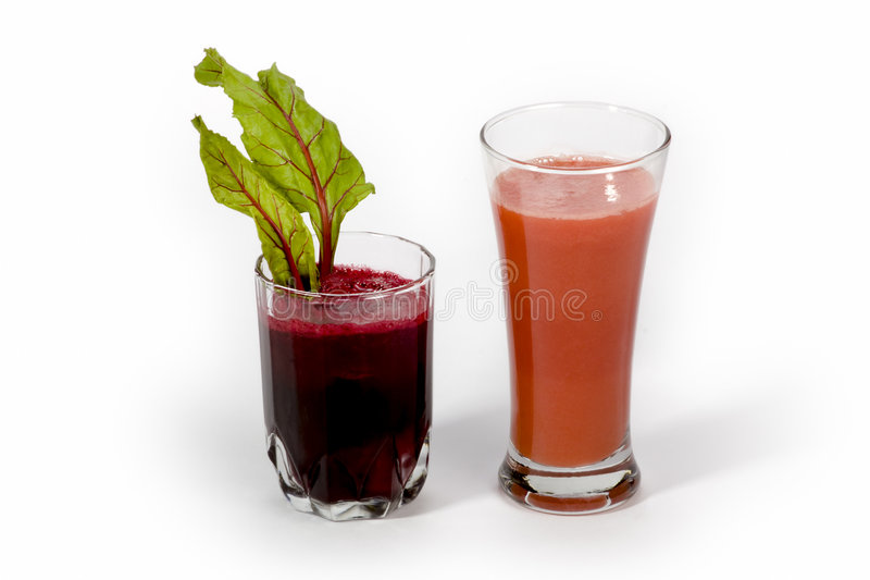 Beetroot and carrot juice stock photography