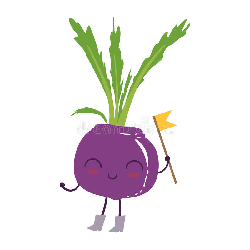 Beetroot Cute Anime Humanized Smiling Cartoon Vegetable Food Character Emoji Vector Illustration. Funny Product With Arms And Legs Childish Design Isolated stock illustration