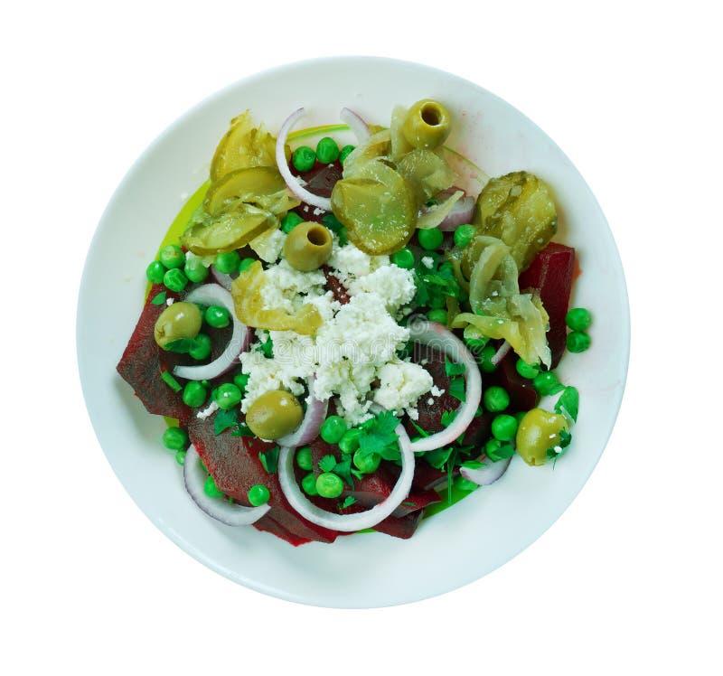 Beetroot, green pea,feta salad royalty free stock image