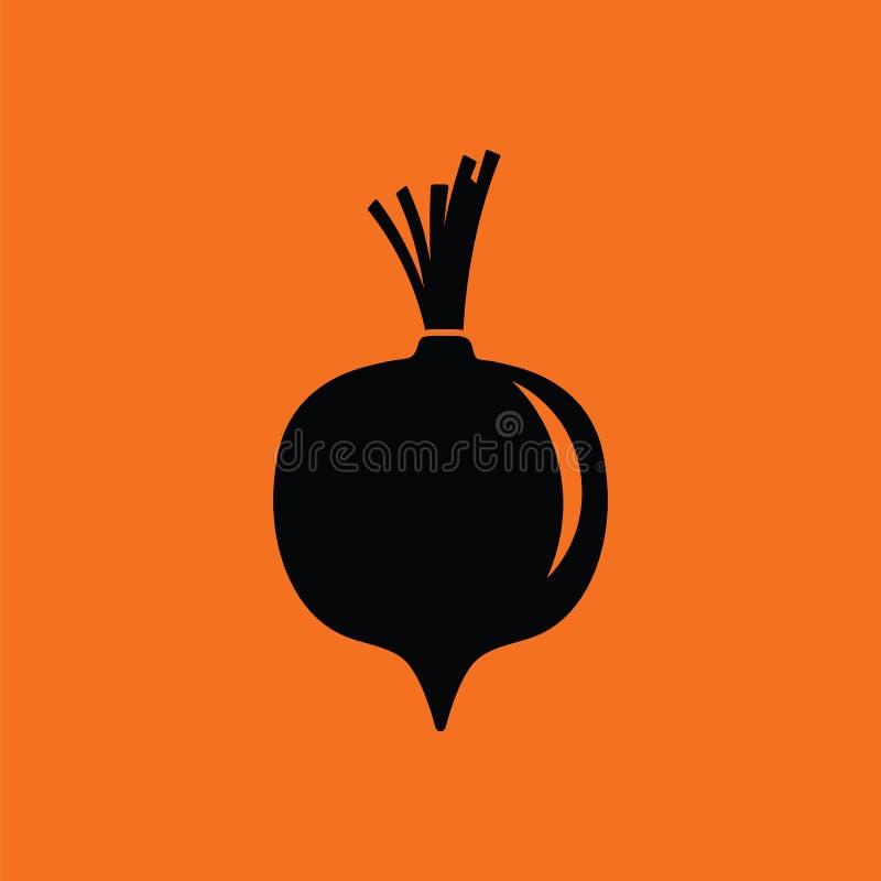 Beetroot icon. Orange background with black. Vector illustration vector illustration