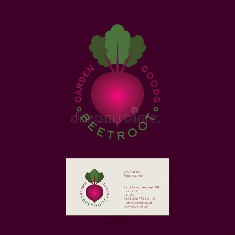 Beetroot logo. Garden goods or organic market emblems. Red beet with leaves and letters in a circle. Identity. Business card stock illustration