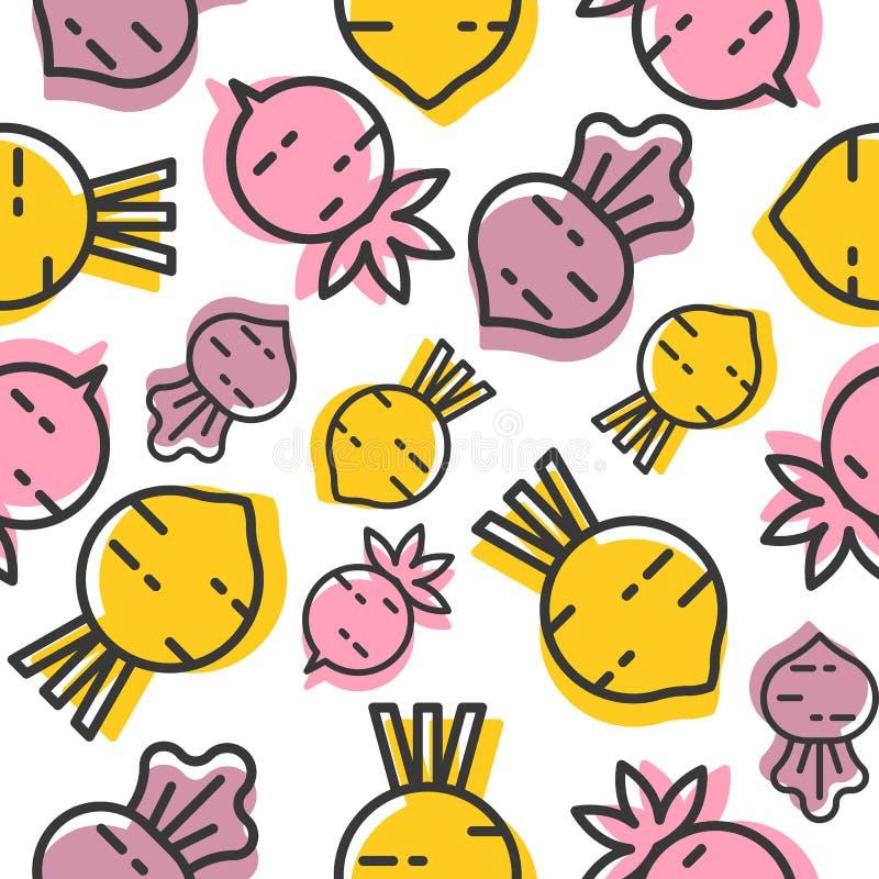 Beetroot and radish seamless pattern, outline vegetable wallpaper stock illustration