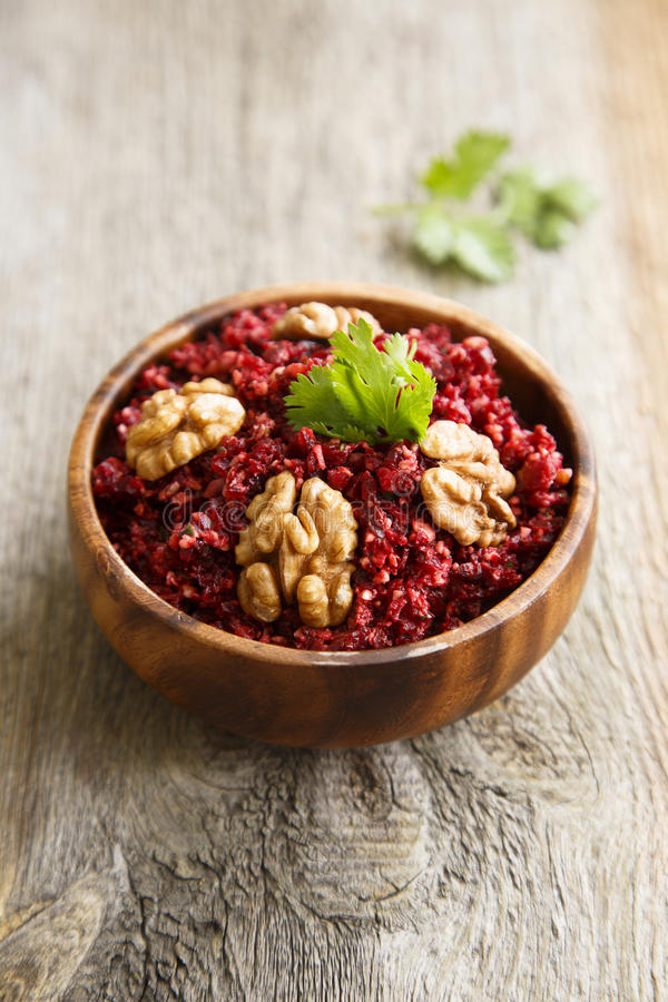 Beetroot relish. With nuts and herbs royalty free stock photos