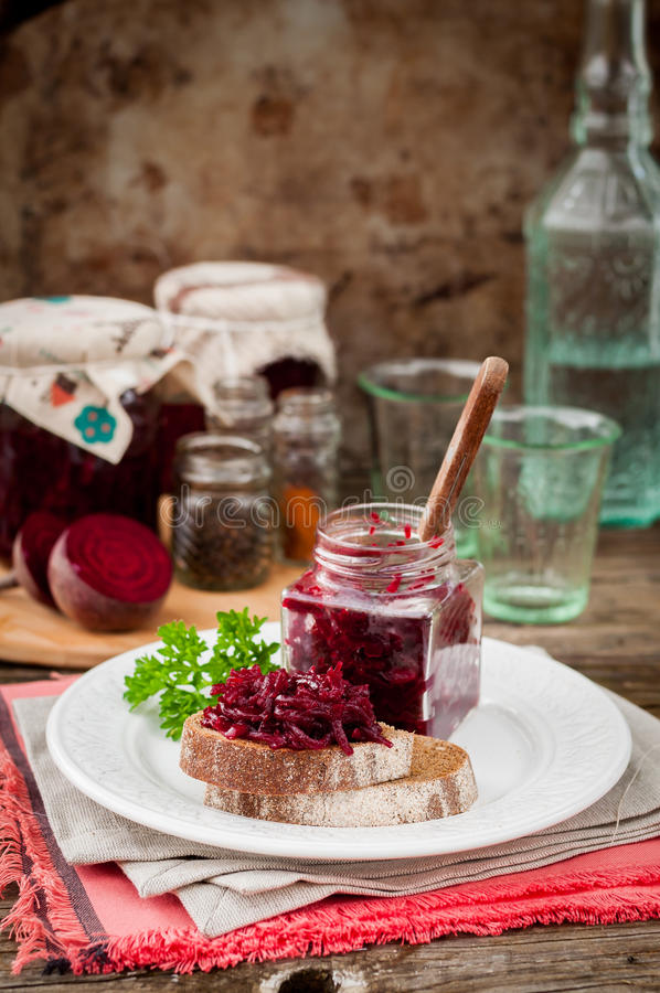Beetroot Relish Preserves on Rye Toast. Marinated Beetroot Relish Preserves on Rye Toast, copy space for your text stock image