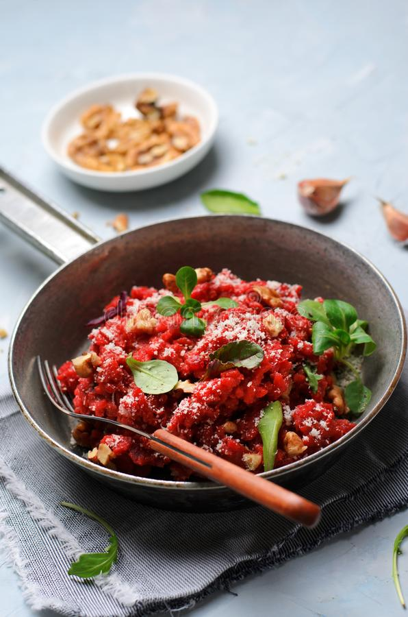 Beetroot Risotto, Italian Cuisine, Homemade Vegetarian Meal stock photo