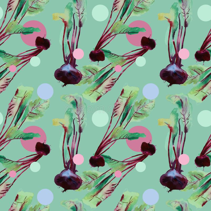 Beetroot seamless pattern, beet with watercolor illustrations, Beet pattern with leaves and purple root. Beet pattern with watercolor textures with leaves stock illustration
