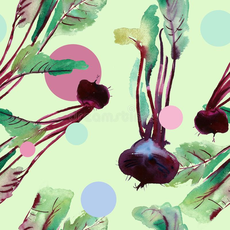 Beetroot seamless pattern, beet with watercolor illustrations, Beet pattern with leaves and purple root. Beet pattern with watercolor textures with leaves royalty free illustration