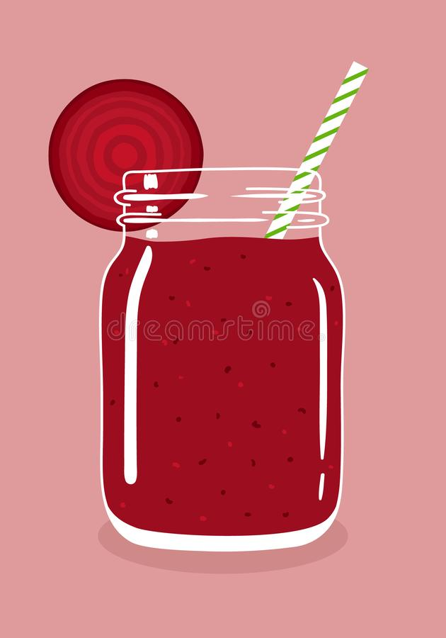 Beetroot smoothie in mason jar with slice of beetroot and swirled straw. Vector hand drawn illustration. Beetroot juice smoothie in mason jar with slice of royalty free illustration