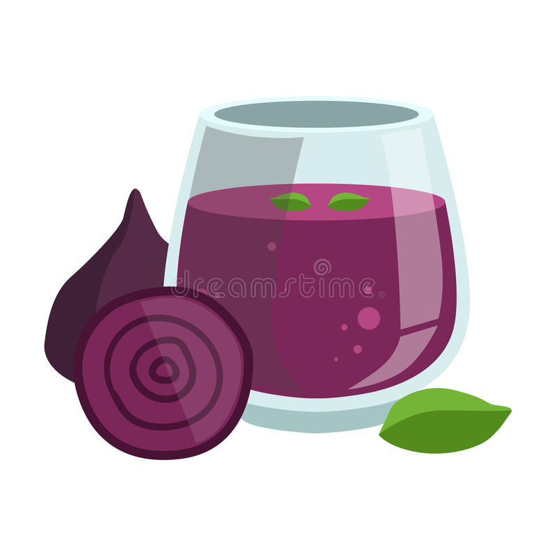 Beetroot Smoothie, Non-Alcoholic Fresh Cocktail In A Glass And The Ingredients For It Vector Illustration stock illustration
