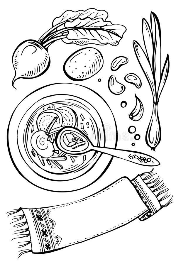 Beetroot soup with ingredients and towel. royalty free illustration