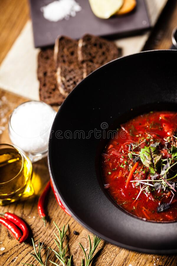 Beetroot soup served in a bowl in restaurant royalty free stock images