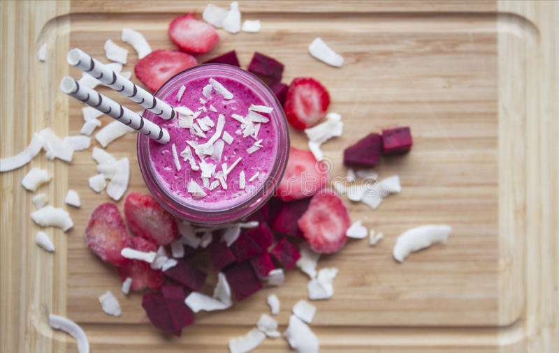 Beetroot, Strawberry and Coconut smoothie. royalty free stock photo