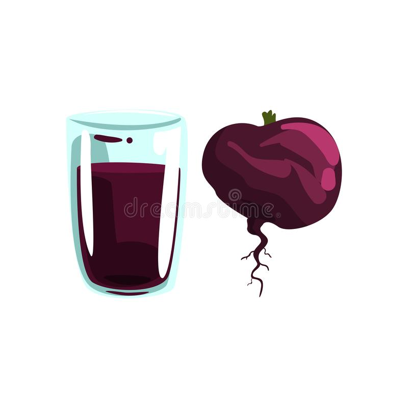 Beetroot vegetable juice, glass of natural vegetarian drink, healthy organic food vector Illustration on a white. Beetroot vegetable juice, glass of natural royalty free illustration