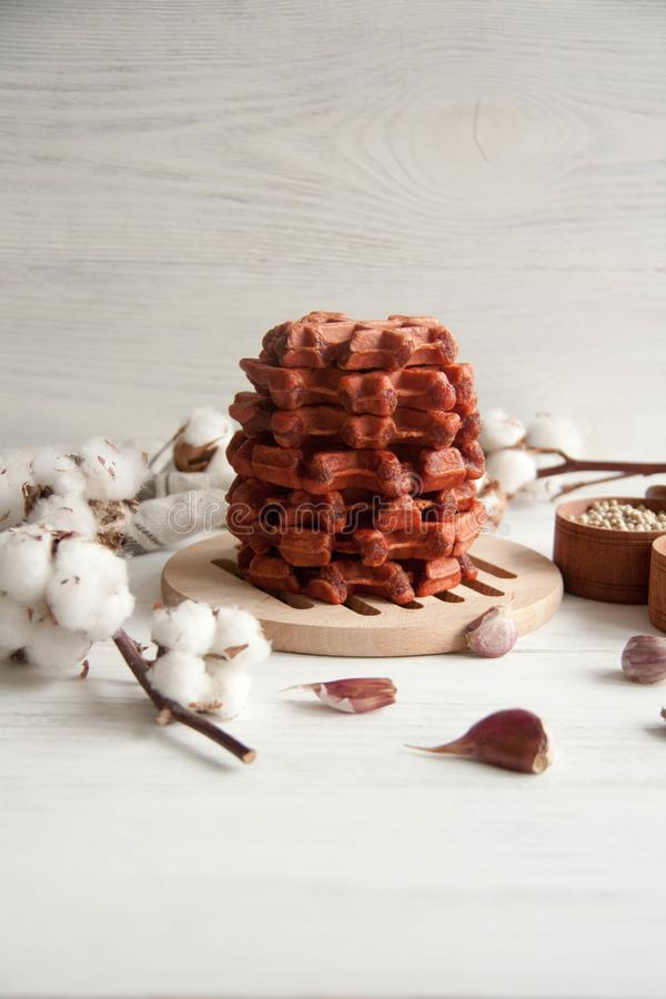 Beetroot waffles. Healthy breakfast, lunch or appetizer: Beetroot waffles royalty free stock image