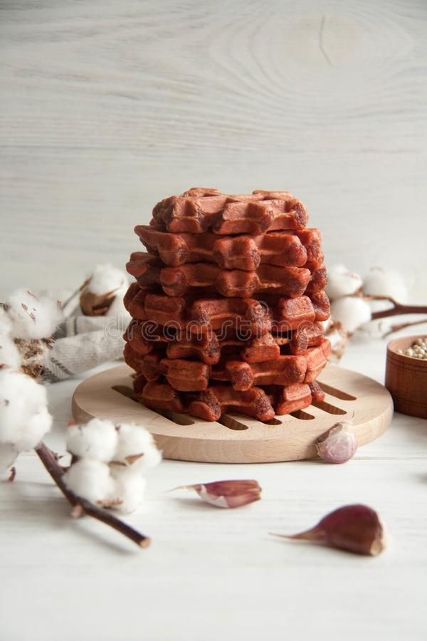 Beetroot waffles. Healthy breakfast, lunch or appetizer: Beetroot waffles stock photo