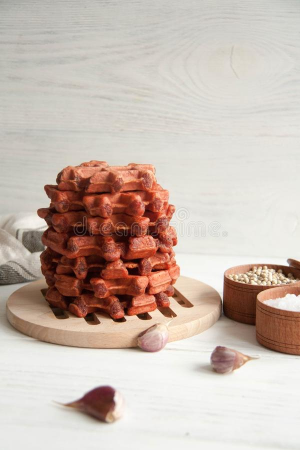 Beetroot waffles. Healthy breakfast, lunch or appetizer: Beetroot waffles royalty free stock photos