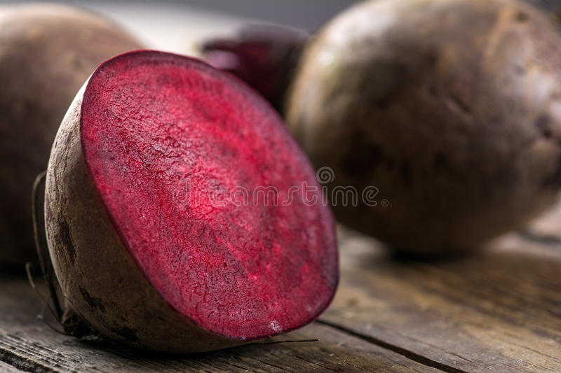Beetroot. On wooden background. Close up royalty free stock images