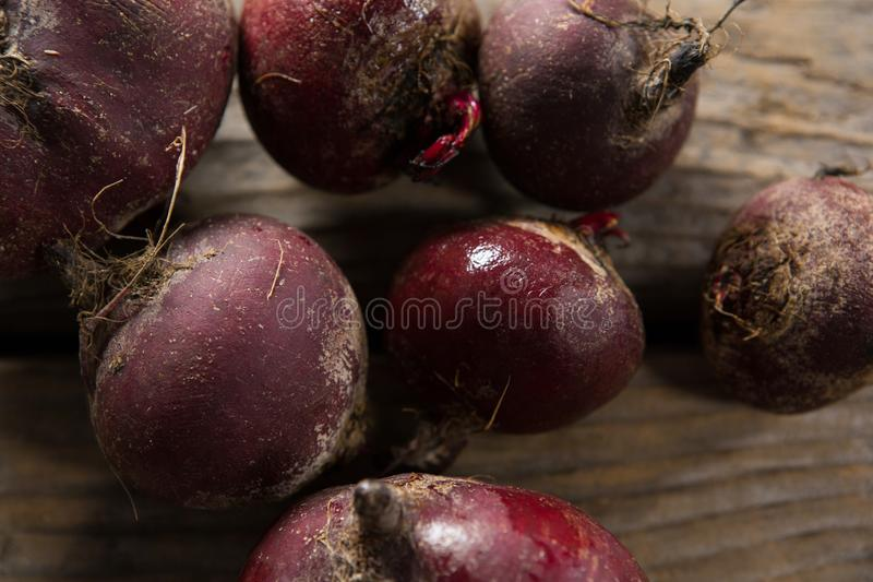 Beetroot on wooden table. Close-up of beetroot on wooden table vector illustration