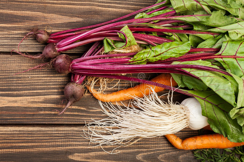 Beetroots, carrots and leek royalty free stock image