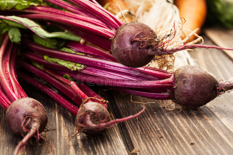 Beetroots, carrots and leek stock photo
