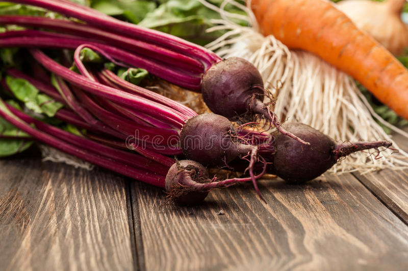 Beetroots, carrots and leek royalty free stock photography