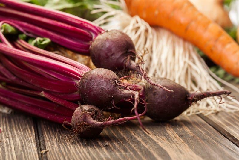 Beetroots, carrots and leek stock photos