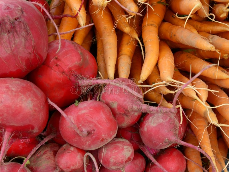 Beets and Carrots. Carrots and beets at market stock photography
