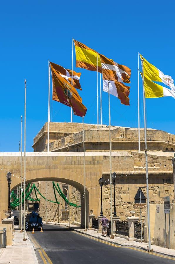 Befästningar av Malta - tre städer royaltyfria bilder