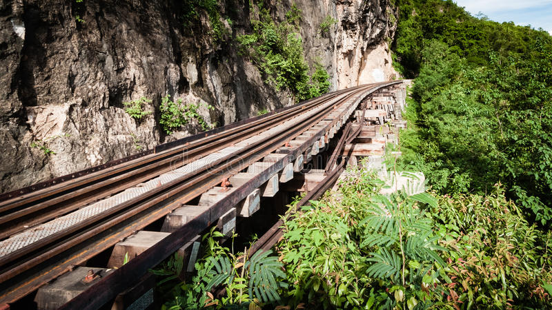 Befördern Sie den hölzernen Geschichtszweiten weltkrieg in Fluss kwai, kanchanaburi mit dem Zug, lizenzfreie stockfotos
