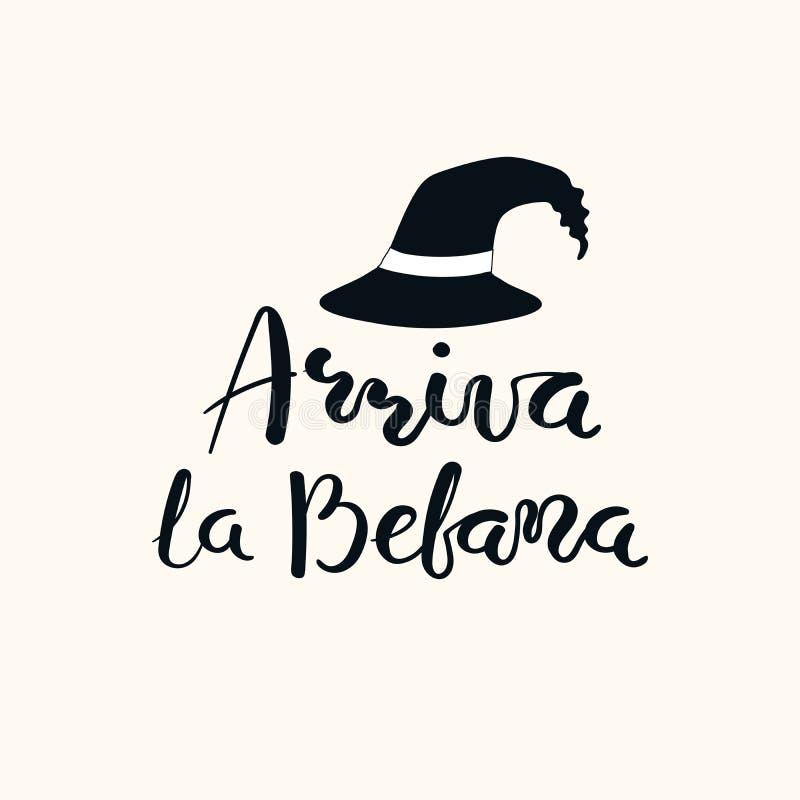Befana chega rotulando citações no italiano ilustração stock