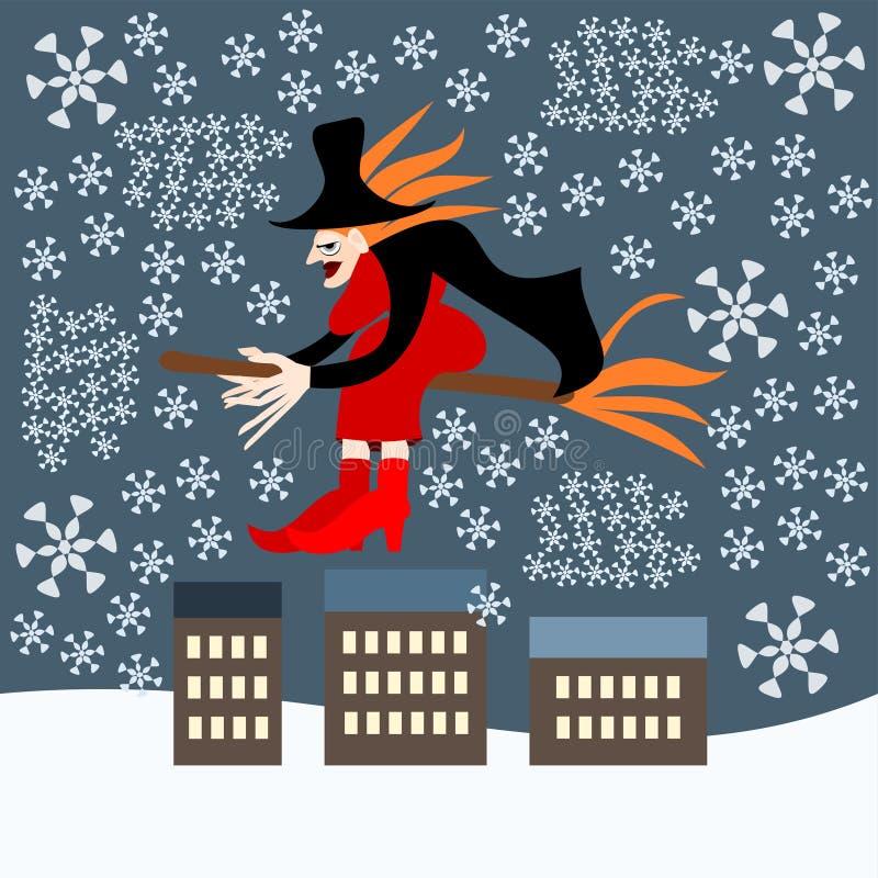 Befana-Hexe über der Stadt während eines Blizzards vektor abbildung