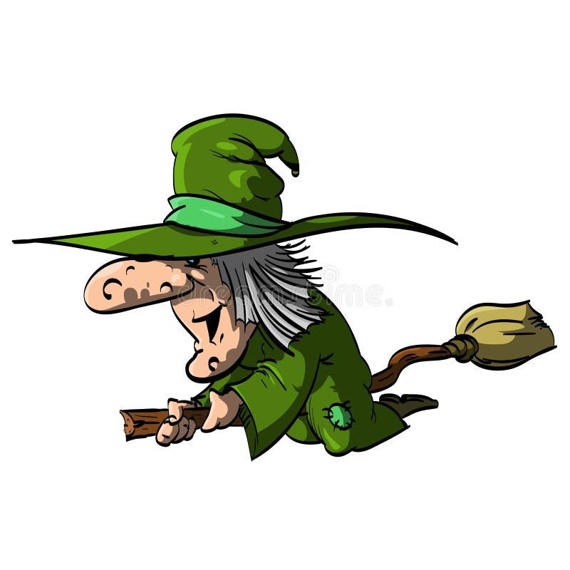 Befana oder eine Hexe auf einem Besenstiel lizenzfreie abbildung