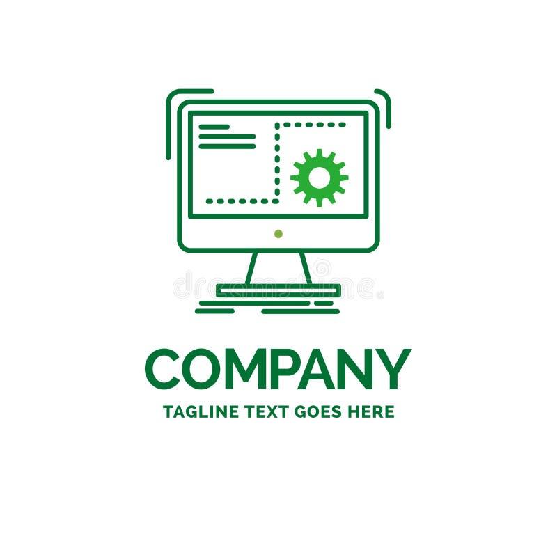 Befehl, Computer, Funktion, Prozess, Fortschritt flacher Geschäfts-Klotz stock abbildung