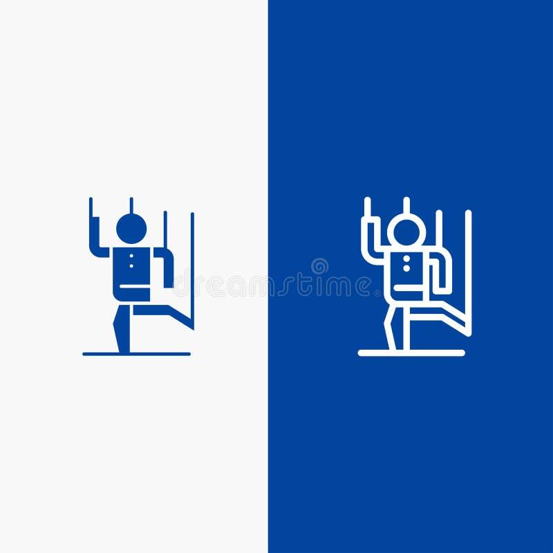 Befehl, die Steuerung, menschlich, manipulieren, blaue Fahne der blauen Fahne der festen Ikone der Manipulations-Linie und des Gl stock abbildung