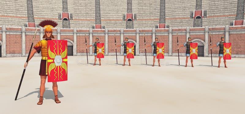 Befehlshaber, Legionäre und Colosseum in altem Rom stock abbildung