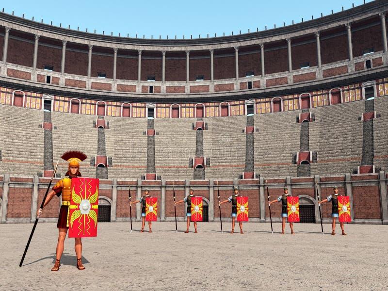 Befehlshaber, Legionäre und Colosseum in altem Rom lizenzfreie abbildung