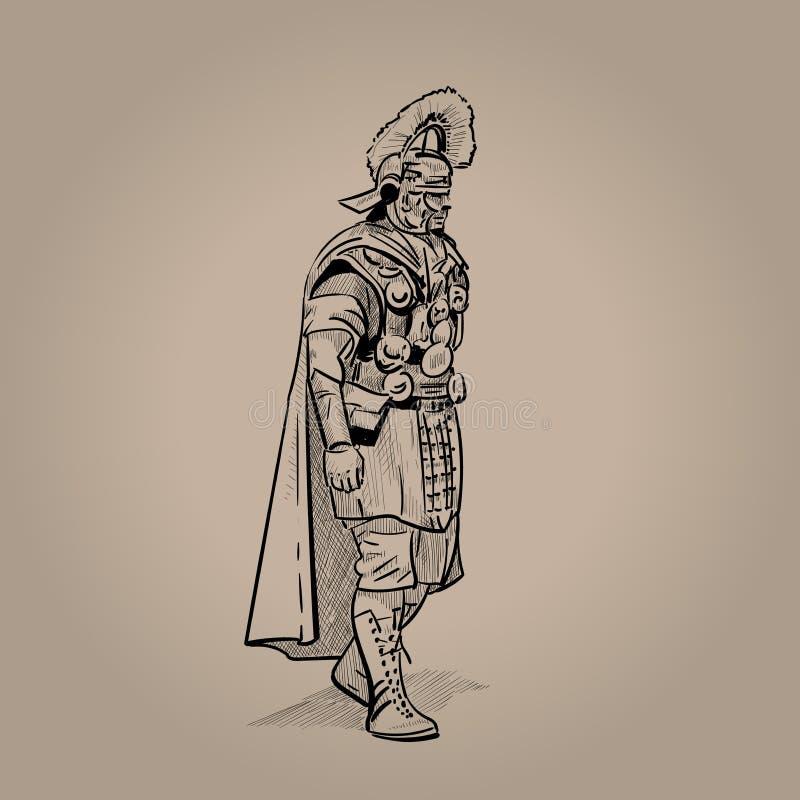 Befehlshaber, römische Legion Digital-Skizzen-Handzeichnung stock abbildung