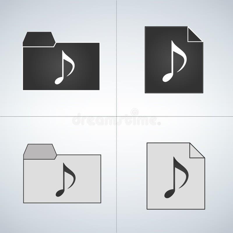 Befestigte Audiodatei- und Ordnerikone lizenzfreie abbildung