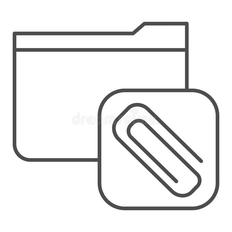 Befestigte dünne Linie Ikone des Ordners r r lizenzfreie abbildung