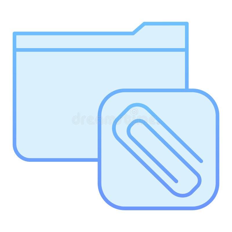 Befestigte flache Ikone des Ordners Ordner mit blauen Ikonen des Clips in der modischen flachen Art Computerordnersteigungs-Arten vektor abbildung