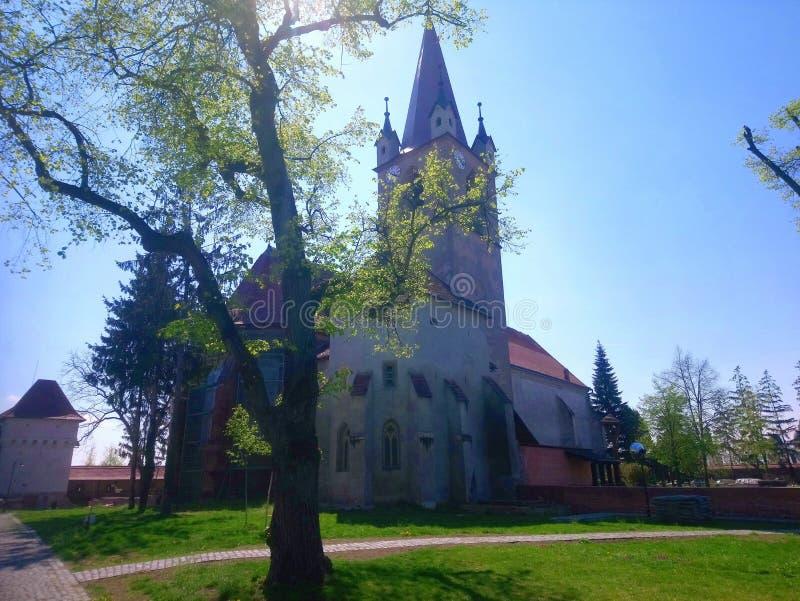befestigte Kirche in Targu Mures, Rumänien stockbilder